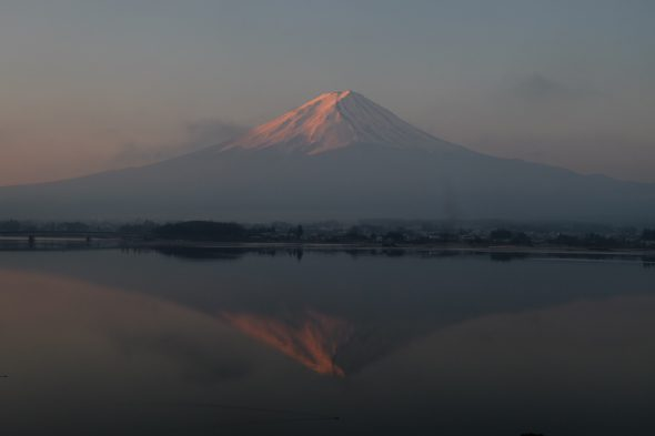 Inverted image of Mt.Fuji of the daybreak