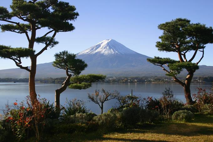 湖月庭園から朝の富士