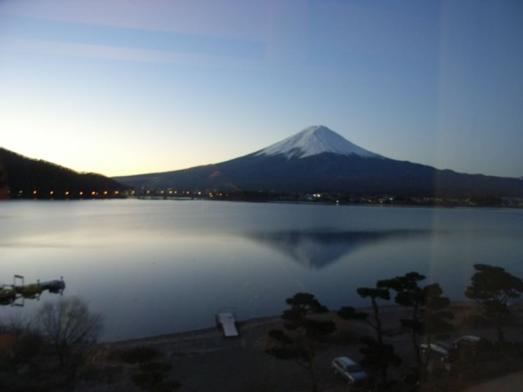 Inverted image of Mt.Fuji of the surface of a lake