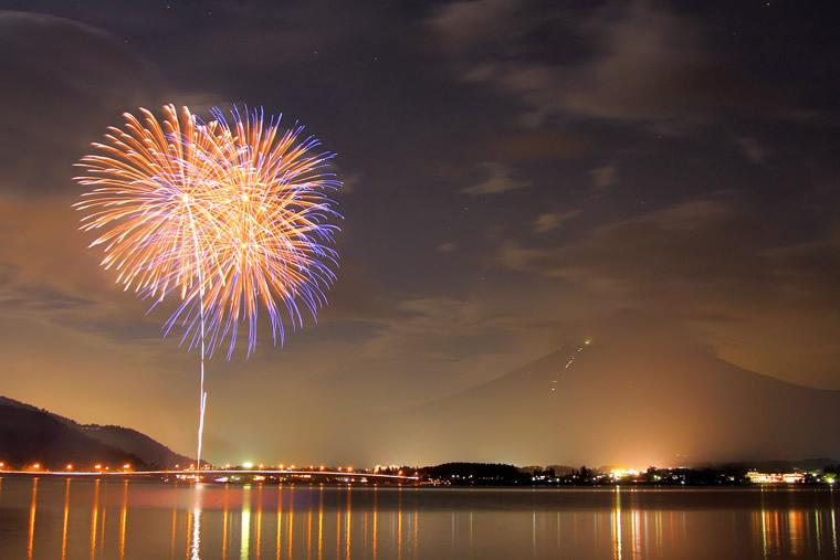 富士山と夏の花火